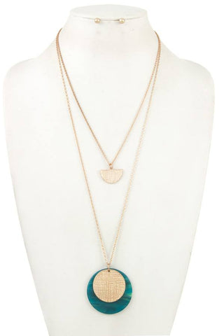 Double row acetate disk pendant necklace set