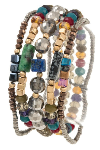Multi row mix jewel bracelet