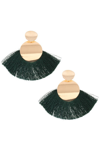 Circle metal link fan tassel earring