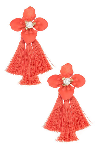 Double tassel floral drop earring