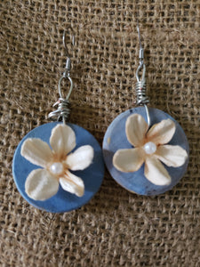 "Earrings - Circle -1"" - Mache Flower"