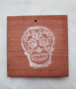 Coaster/ Ornament - Wood Square 4x4 - Day of the Dead
