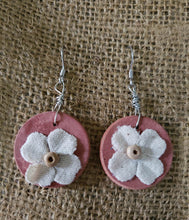 "Load image into Gallery viewer, Earrings - Circle 1"" - Canvas Flower"