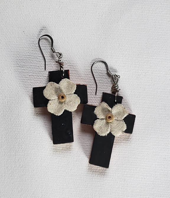 Earrings - Cross 1.25 x 1.5 x 1/8