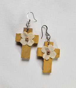 "Earrings - Cross 1.25 x 1.5 x 1/8"" -  Canvas Flower"