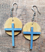 "Load image into Gallery viewer, Earrings - Cross 2 x 1.25 x 1/8"" -Halo"