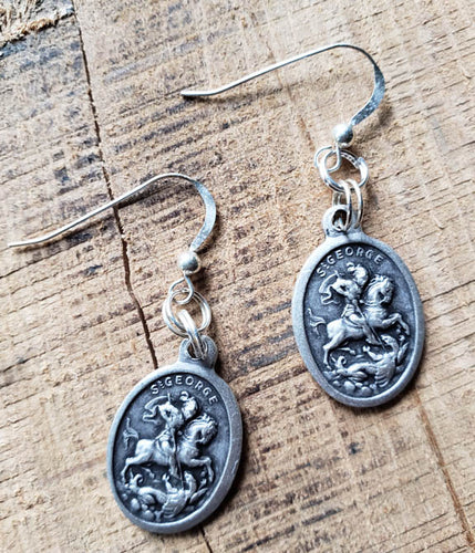 Earrings - Pewter Coin - Silver Hook- St. George