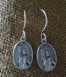 Earrings - Pewter Coin - Silver Hook- St. Joan of Arc