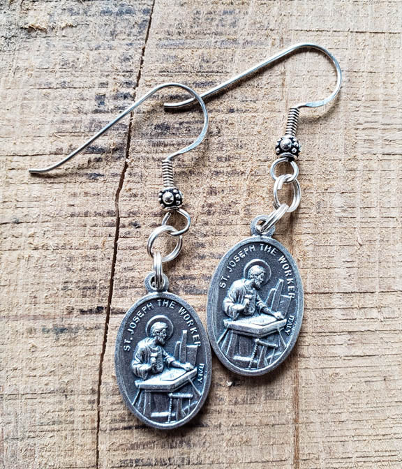 Earrings - Pewter Coin - Silver Hook- Saint Joseph