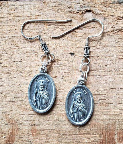 Earrings - Pewter Coin - Silver Hook- Saint Jude