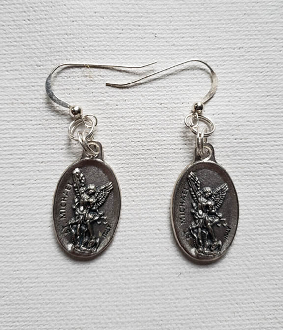 Earrings - Pewter Coin - Silver Hook- Michael the Archangel