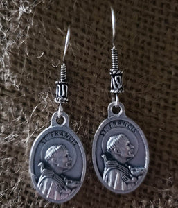 Earrings - Pewter Coin - Silver Hook- St. Francis