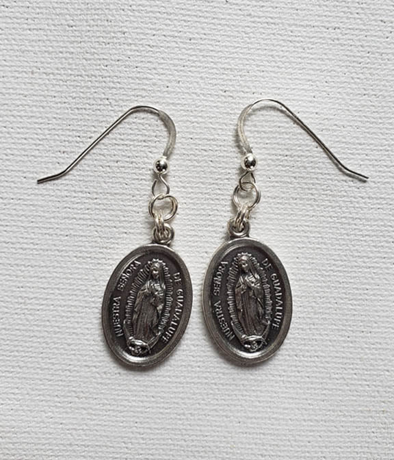 Earrings - Pewter Coin - Silver Hook- St. Guadalupe