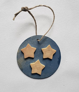 "Ornament - Wood Circle 3""  - Tri-star"