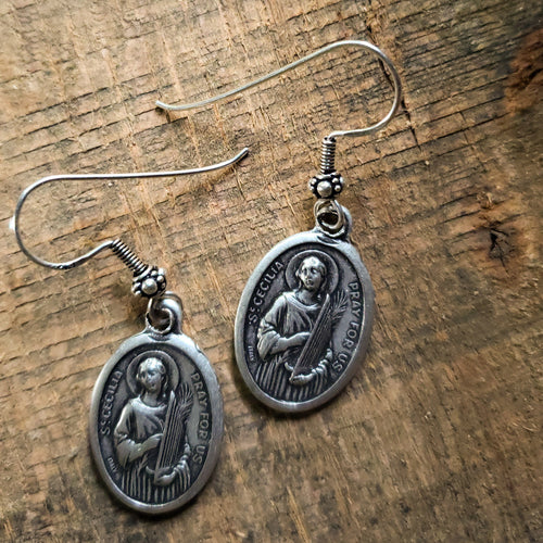 Earrings - Pewter Coin - Silver Hook- St. Cecelia
