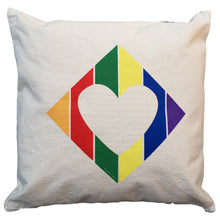 Load image into Gallery viewer, Pillow - Canvas 16×16 - Rainbow Diamond Heart