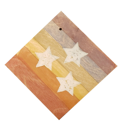 "Coaster/Ornament - Wood 4x4"" - Rustic Rainbow Tri-Star"