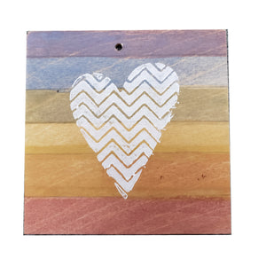Coaster/Ornament - Wood 3x3 -Rainbow Square Zig-Zag Heart