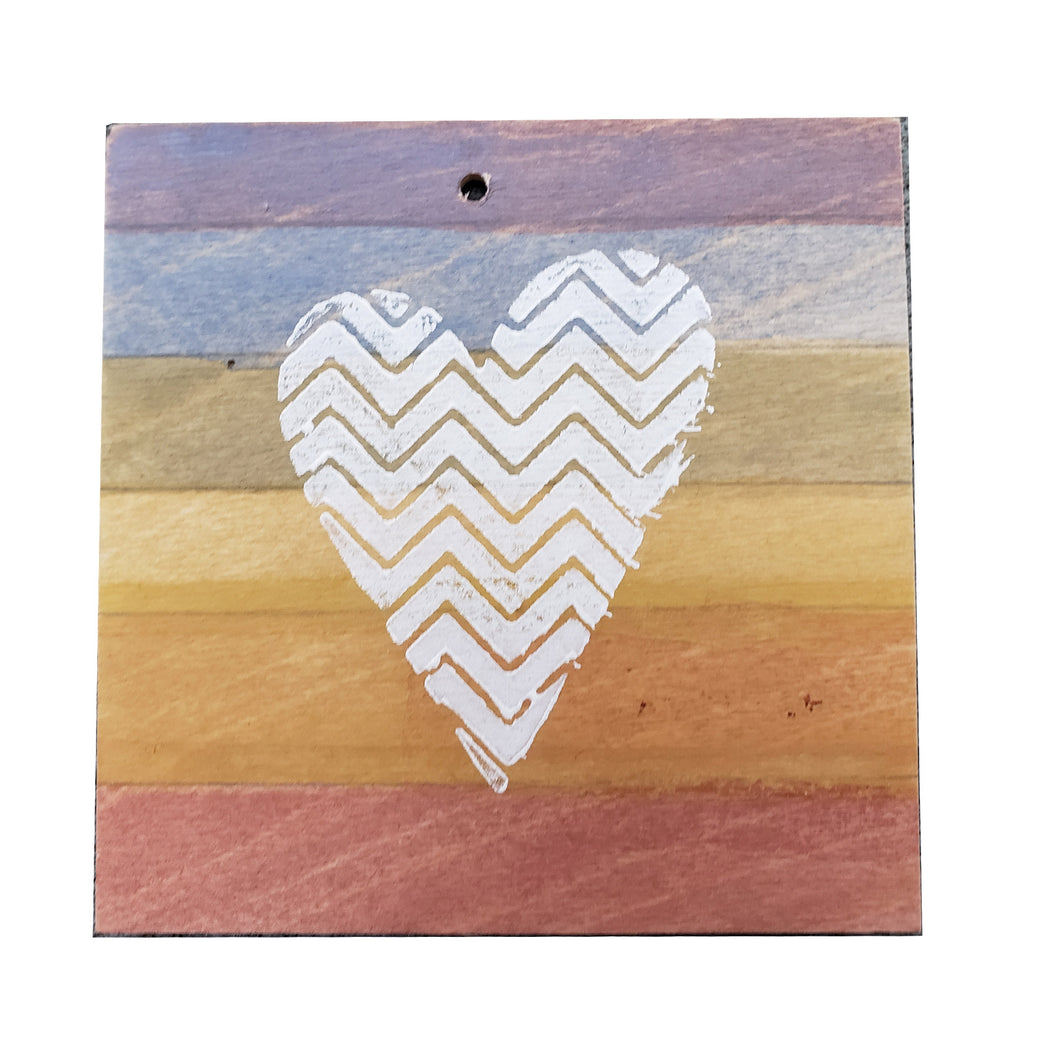 Coaster/Ornament - Wood 4x4 -Rainbow Square Zig-Zag Heart