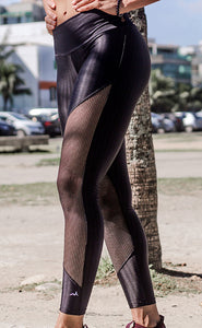 Abundant - Black Legging with Frontal Mesh - HEALTHY GAL