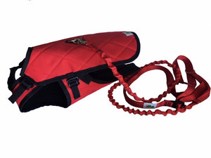 Chest and belly protector harness for dogs with insulated winter quilted top coat and hands free cross body leash.