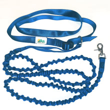 Hands free cross body dog leash with bungee extension