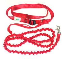 Hands free cross body dog leash with bungee extension, trail running leash