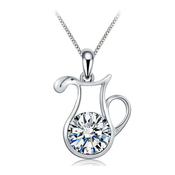 925 Sterling Silver CZ Diamond  Aquarius Pendant