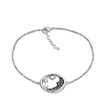 925 Sterling Silver Bracelet with CZ Diamond, Rhodium Plated
