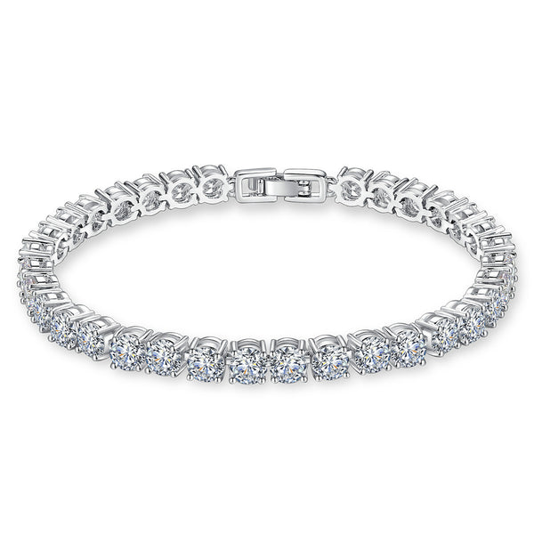 925 Sterling Silver Tennis Bracelet with CZ Diamond,