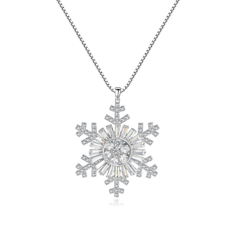 925 Sterling Silver CZ Diamond Snow Flake Pendant