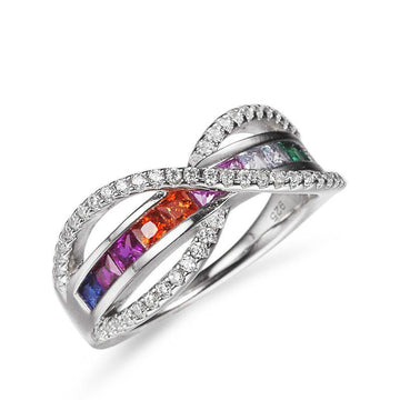 925 Sterling Silver Ring with CZ Diamond, Bezel Setting Fashion Jewelry