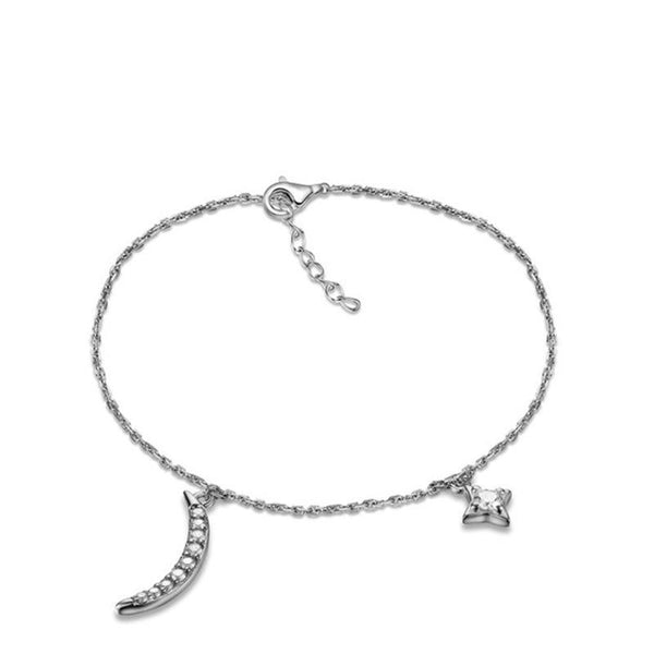 925 Sterling Silver Bracelet with CZ Diamond, Moon and Star Fashion Jewelry