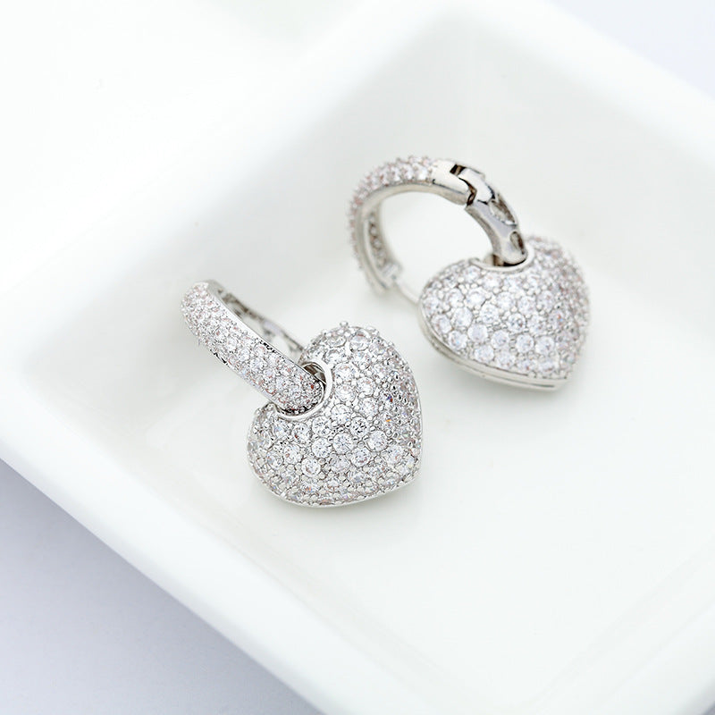 925 Sterling Silver Drop Heart Shape Earring