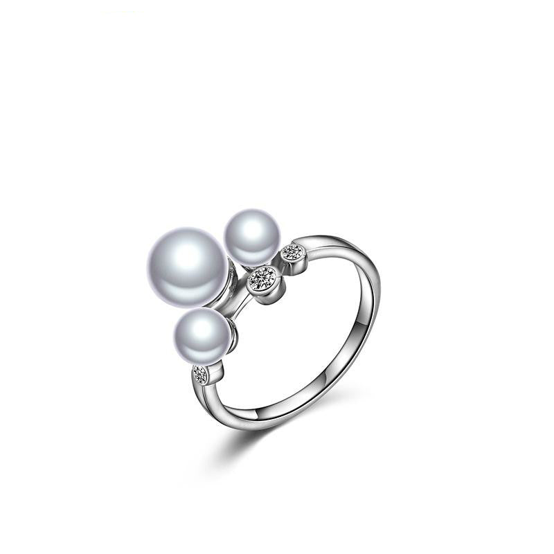 925 Sterling Silver Ring with CZ Diamond, Pearl Fashion Jewelry
