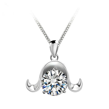 925 Sterling Silver CZ Diamond Aries Pendant