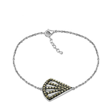 925 Sterling Silver Bracelet with CZ Diamond, Fan Shape Bracelet