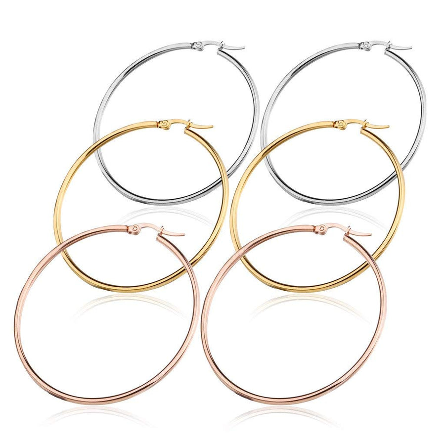 925 Sterling Silver  Hoop Earrings Set for Women 40-60mm