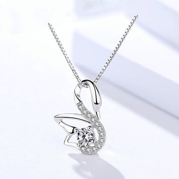 925 Sterling Silver With Cubic Zirconia,   Swan Pendant