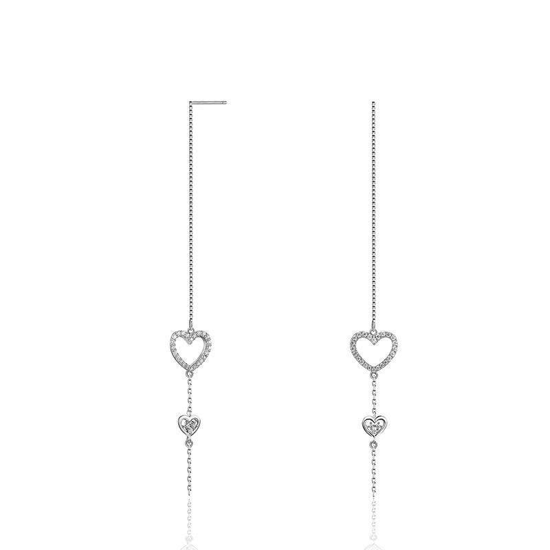 925 Sterling Silver Long Dangle Earring, Heart Shape Earring