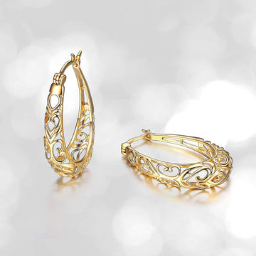 925 Sterling Silver Filigree Hoop Earrings