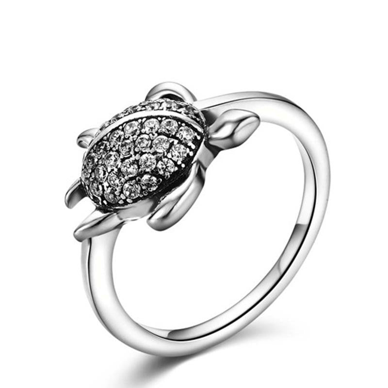 925 Sterling Silver Ring with CZ Diamond, Tortoise Fashion Jewelry