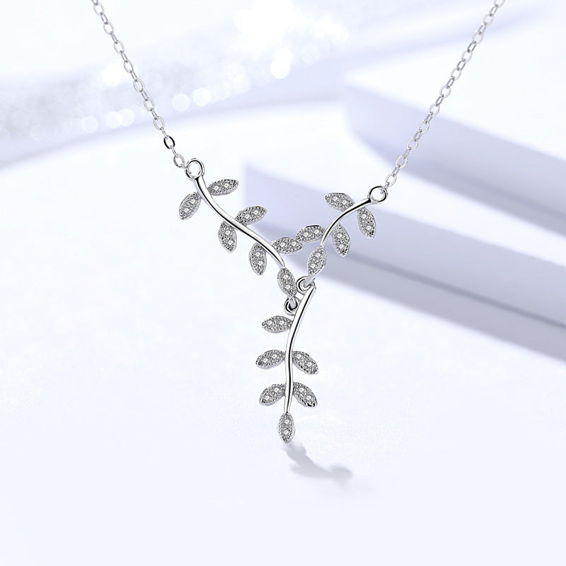 925 Sterling Silver With Cubic Zirconia, Leaf Pendant