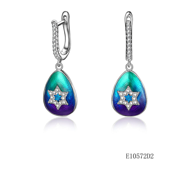 925 Sterling Silver  Enamel Star Drop Earrings