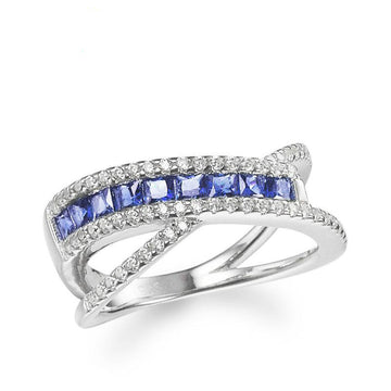 925 Sterling Silver Ring with CZ Diamond, X Shape Fashion Jewelry