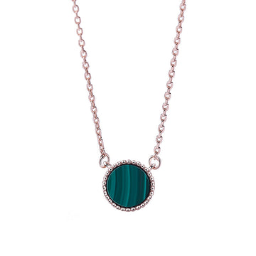 925 Sterling Silver With Cubic Zirconia,  Malachite  Pendant