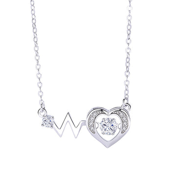 925 Sterling Silver With Cubic Zirconia, Heart with lightning Pendant