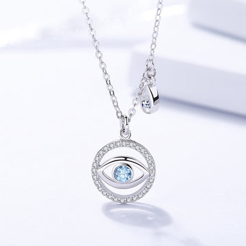 925 Sterling Silver CZ Diamond Evil Eye Pendant