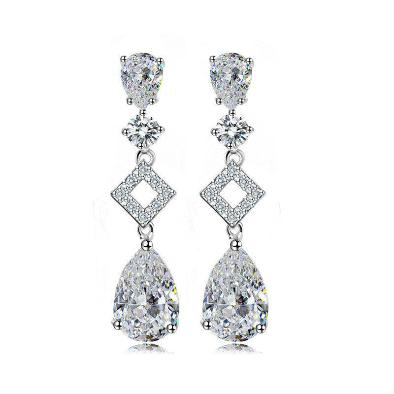 925 Sterling Silver Drop Earring With CZ Diamond