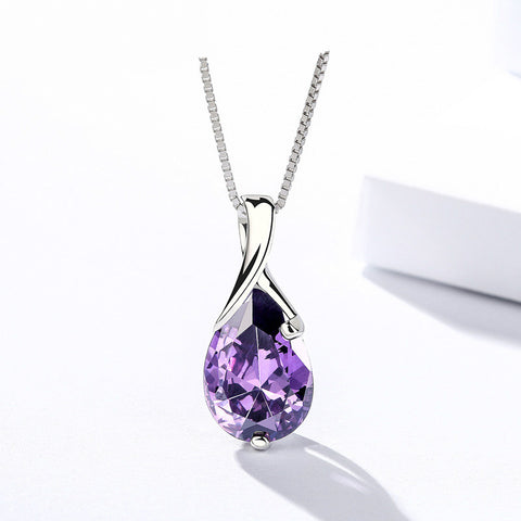 925 Sterling Silver With Amethyst,  Angel Tears Pendant